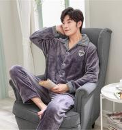 Men's warm casual plus size flannel homewear