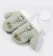 Children's warm knitted gloves winter outdoor windproof and velvet warm cute cartoon baby gloves