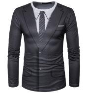 3D suit print crew neck T-shirt