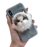 3D animal TPU+Fur phone case