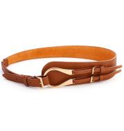 Leather slant with reverse buckle waist belt