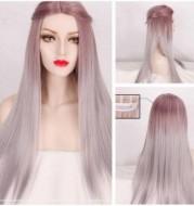 Medium length straight hair with taro color