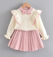Girls flying sleeve knitted sweater suit