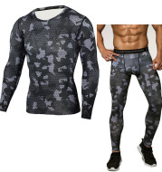 Camouflage Compression Baselayer Set Sports Compression Set Long Sleeve T-Shirt Tights Exercise Clothes Workout Bodysuit Fitness Suits For Men