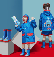 Raincoats for children with large brim