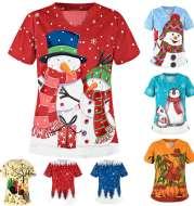 Christmas clothing printed shirt V-neck short-sleeved t-shirt women