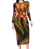 Custom Floral Long-sleeved Dress