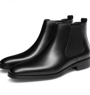 British square head carved ankle boots