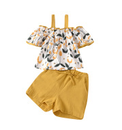 Girls floral sling top shorts two-piece suit