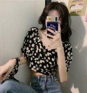 High waist small daisy V-neck shirt dress net red bubble sleeve top