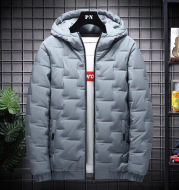 Men's down cotton winter hooded padded jacket