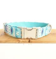 Pet blue flower collar handmade dog collar