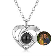 S925 Silver Romantic Photo Projection Necklace Heart Shaped Pendant Necklace