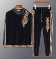 Men's personality embroidery sweater suit