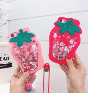 Quicksand strawberry couple phone case