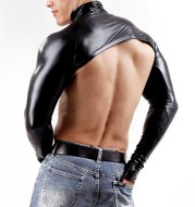 DJ with collar, lacquered leather sleeve and leather men's wear