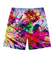 New men's beach pants, creative pattern custom pants, contrast color beach pants, cool shorts
