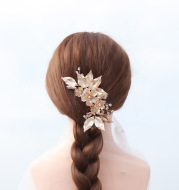 Bride high-end golden flowers hand-inserted comb
