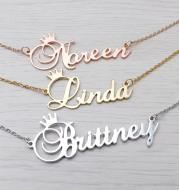 Stainless steel name letter custom crown necklace metal jewelry