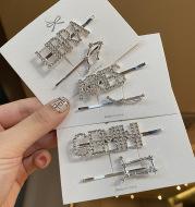 Twelve constellation letter clip rhinestone hairpin