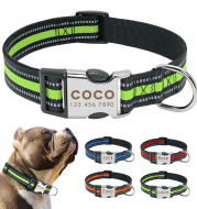 Custom Reflective Pet Leash Tag Collar Nylon Engraved Name for Small Medium Large Dog