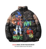 ins European and American graffiti printed cotton coat
