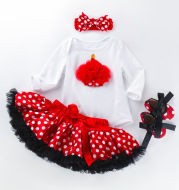 Long-sleeved romper and tutu skirt suit for babies and girls