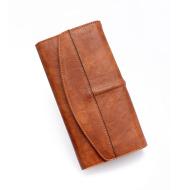 Retro PU female bag long zipper clutch