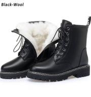 Women's mid-heel platform leather short boots