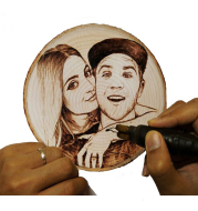 Customized Photo Frame Iron Carving on Wood Chip