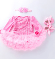 Long sleeve solid color composite rose dress