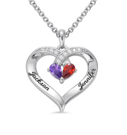 Gemstone necklace female heart-shaped couple custom lettering pendant gift