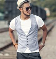 Sportsman light-colored slim-fitting waistcoat vest summer men's waistcoat trend