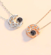 Star moon projection customized photo necklace