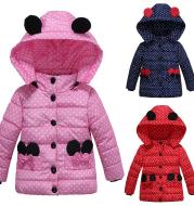 Girls Winter Coat Hooded Dot Animal Design Puffy Jacket