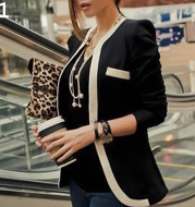 Explosive models of women's jackets on behalf of the Korean version of the black and white striped color matching slim suits
