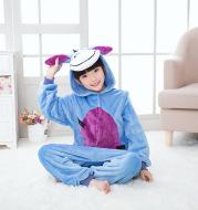 Flannel cartoon animal one-piece pajamas