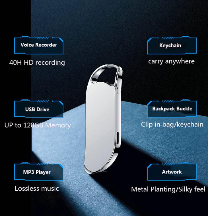 Keychain Digital Voice Recorder Voice Activated Recording allinonehere.com