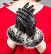 Rabbit hair mouth fashion gloves