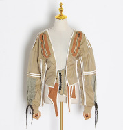 Women's waist tight machine jacket blouse