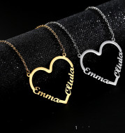 Fashion Custom Stainless Steel Name Heart Necklace for Women Personalized Letter Gold Choker Necklace Gift