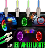 LED Colorful Lights Valve Cap Covers for Bicycle Wheel Night Spokes Moto Auto Accessories