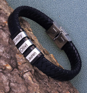 Personalized Men Name Leather Bracelet Black Woven