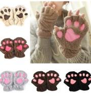Winter Lovely Half Cover Paw Bear Cat Claw Gloves Short Finger