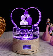 Personalized Gifts Crystal Photo Night Lamp Bluetooth Rotating Color Changing Music Player 3D Inner Carved