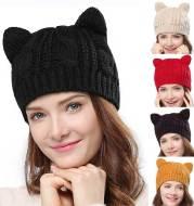 Hand Made 3D Cute Knitted Cat Ear Beanie Cap for Winter