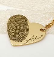 Heart-shaped fingerprint couple necklace
