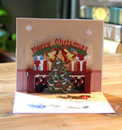 Christmas Card Wholesale Creative 3D Stereo Greeting Card Holiday Wish Card Kindergarten Handmade Greeting Card