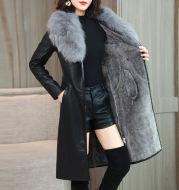 Velvet Warm Long Leather Jacket