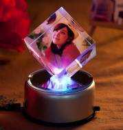 DIY creative birthday gift luminous music rotating crystal cube photo customization for men and women friends and wives